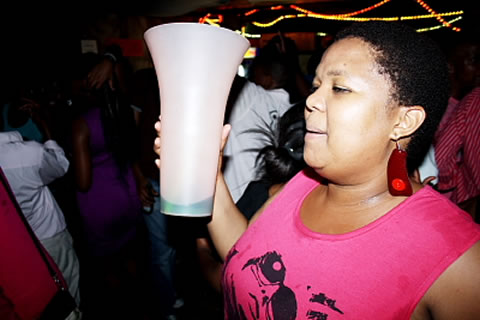 "Legend, this is my African queen drinking a protein shake from the ""cup of life"". She is a Good Time Mafia."
