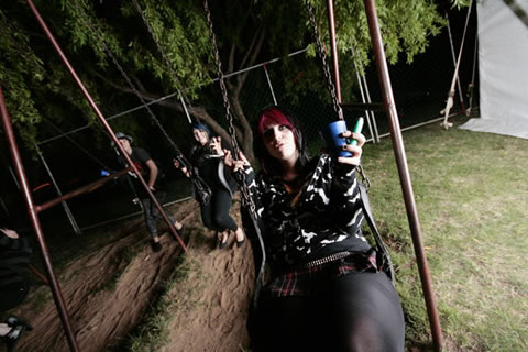 Even goth metal chicks like to have fun sometimes, y'know, think about being kids again and not having to dye their hair so much.