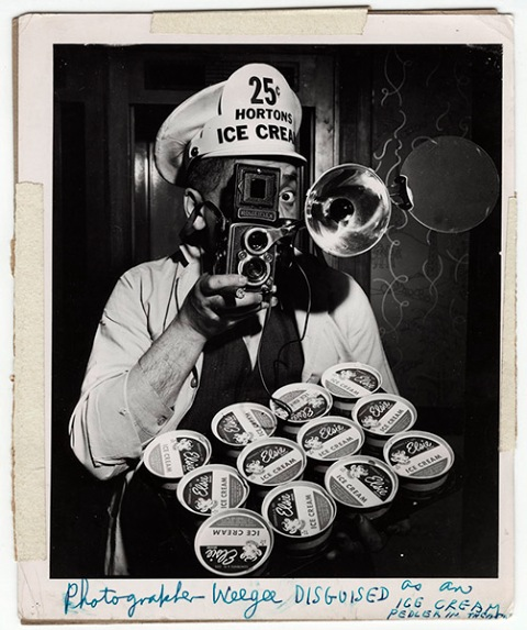 Weegee disguised as an Ice Cream peddler