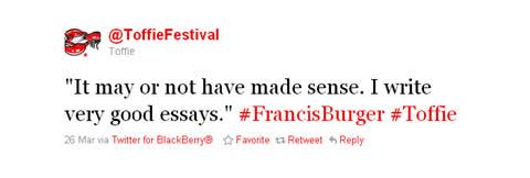 Toffie Francis Burger Tweet