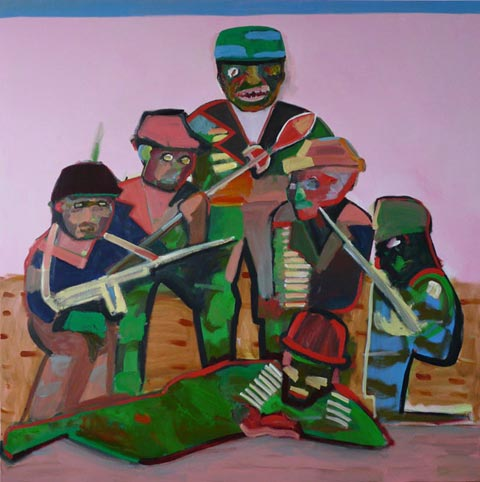Carla Busuttil, Boss Boys, 2011, oil on canvas, 200 x 200 cm