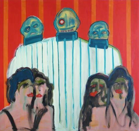 Carla Busuttil, Front-Row Seats with The Filthy Lucre, 2010, oil on canvas, 160 x 150 cm