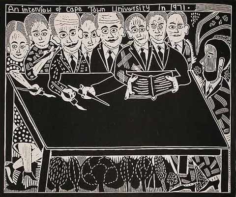 Cameron Platter - John Muafangejo An Interview of Cape Town University in 1971 Linocut On Paper