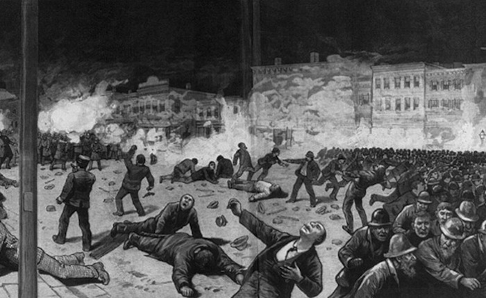 haymarket square riot Haymarket square riot, outbreak of violence in chicago on may 4, 1886 demands for an eight-hour working day became increasingly widespread among american laborers in the 1880s.