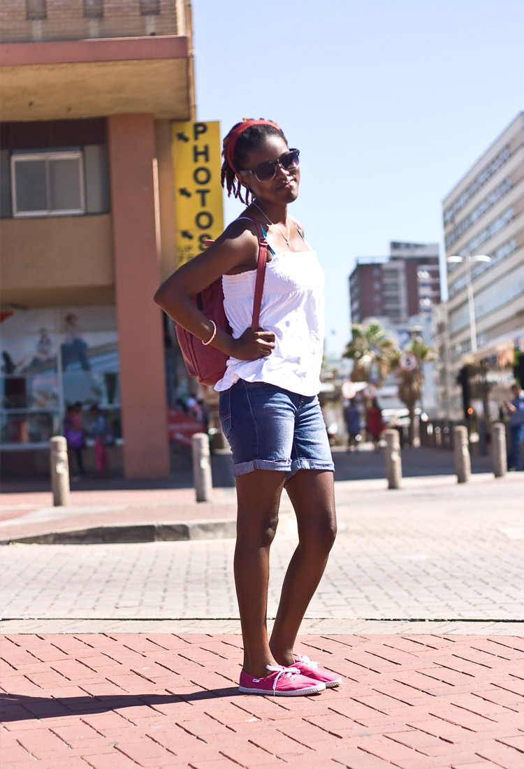 """I'm on my way to the beach actually, we're doing a project there. I'm studying Marine Biology and am really passionate about the ocean and the environment. My friends will tell you, I only have three pairs of shoes and my Tomy's are one of them…"" – Khutso Ramalepe, Marine Biology Student"